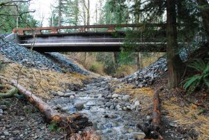 After restoration at the same site: a bridge with a low rail spans a v-shaped dip with a rocky stream running underneath.